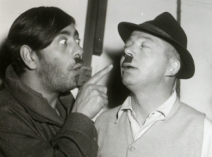 Robert Straus and Billy Wilder poke fun on the set of STALAG 17