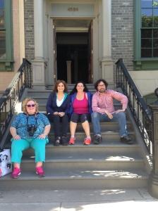 Jeanelle, Ammarie, Kellee & Matt (left to right) on the 'faux brownstone steps'