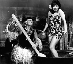 Buster Keaton made appearances in several AIP beach party films, seen here in Tiki attire to match his famous porkpie hat. Remember, it doesn't need to make sense- it's nonsensical fun!