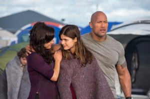 "(L-r) CARLA GUGINO as Emma, ALEXANDRA DADDARIO as Blake and DWAYNE JOHNSON as Ray in the action thriller ""SAN ANDREAS,"" a production of New Line Cinema and Village Roadshow Pictures, released by Warner Bros. Pictures. from Warner Bros media pass"