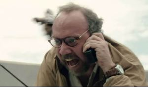 Earthquake expert Lawrence (Paul Giamatti) in the midst of epic disaster