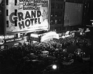 1932 --- Original caption: 1932- Opening night of the movie Grand Hotel on Times Square at Astor Theatre. View of street crowd at entry. --- Image by © Corbis