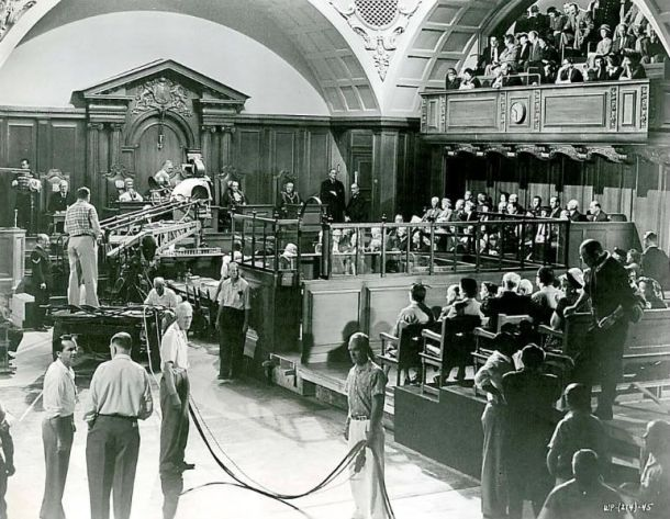 The setting is prepared for Billy Wilder's fabulous courtroom drama _Witness for the Prosecution_, 1957_